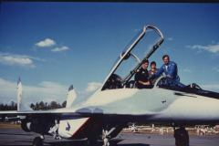 Strapping in to the Mig 29 with Mig 29 airshow pilot Roman Taskaev and Valerie.