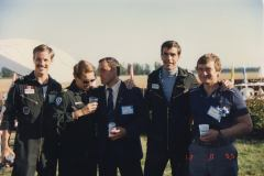 Hollis Tucker, Guy Sawchuk, Anatoly Kvoture ( the demo pilot that bailed out at the Paris Airshow a few months earlier ) myself and Roman Taskaev ( Mig 29 demo pilot at Abbotsford )
